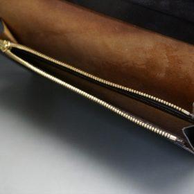 ロカド社製オイルコードバンのダークバーガンディ色のスタンダード長財布(ゴールド色)-1-10