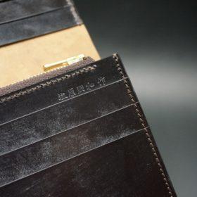 ロカド社製オイルコードバンのダークバーガンディ色のスタンダード長財布(ゴールド色)-1-11