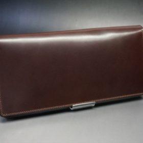 ロカド社製オイルコードバンのダークバーガンディ色のスタンダード長財布(ゴールド色)-1-2