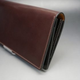ロカド社製オイルコードバンのダークバーガンディ色のスタンダード長財布(ゴールド色)-1-3