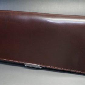 ロカド社製オイルコードバンのダークバーガンディ色のスタンダード長財布(ゴールド色)-1-4