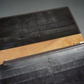 ロカド社製オイルコードバンのダークバーガンディ色のスタンダード長財布(ゴールド色)-1-8