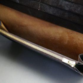 ロカド社製オイルコードバンのダークバーガンディ色のスタンダード長財布(ゴールド色)-1-9
