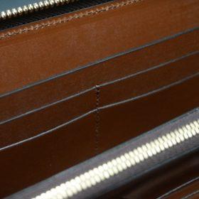 新喜皮革社製オイルコードバンのアンティーク色のラウンドファスナー長財布(ゴールド色)-1-10