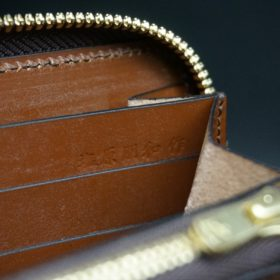 新喜皮革社製オイルコードバンのアンティーク色のラウンドファスナー長財布(ゴールド色)-1-11