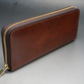 新喜皮革社製オイルコードバンのアンティーク色のラウンドファスナー長財布(ゴールド色)-1-2