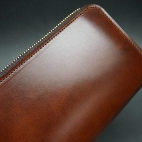 新喜皮革社製オイルコードバンのアンティーク色のラウンドファスナー長財布(ゴールド色)-1-3