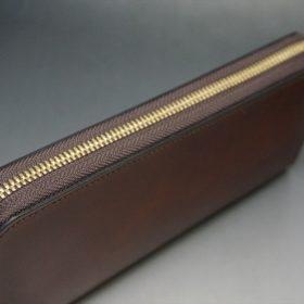 新喜皮革社製オイルコードバンのアンティーク色のラウンドファスナー長財布(ゴールド色)-1-4