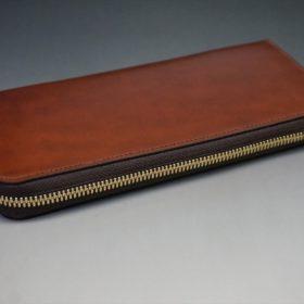 新喜皮革社製オイルコードバンのアンティーク色のラウンドファスナー長財布(ゴールド色)-1-5
