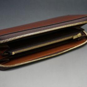 新喜皮革社製オイルコードバンのアンティーク色のラウンドファスナー長財布(ゴールド色)-1-6