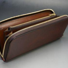 新喜皮革社製オイルコードバンのアンティーク色のラウンドファスナー長財布(ゴールド色)-1-7