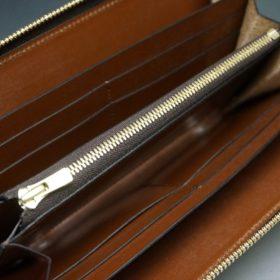新喜皮革社製オイルコードバンのアンティーク色のラウンドファスナー長財布(ゴールド色)-1-8