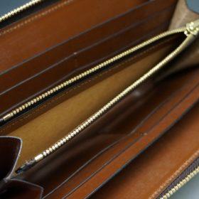 新喜皮革社製オイルコードバンのアンティーク色のラウンドファスナー長財布(ゴールド色)-1-9
