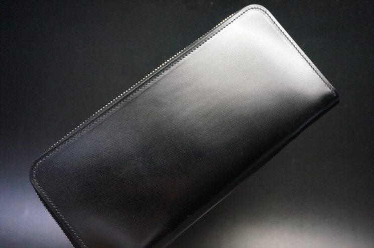 新喜皮革社製オイルコードバンのブラック色のラウンドファスナー長財布(シルバー色)-1-1