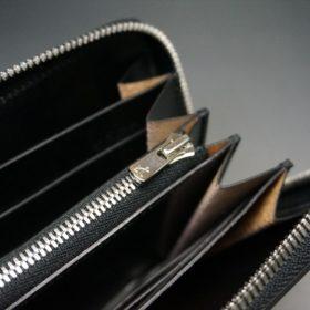 新喜皮革社製オイルコードバンのブラック色のラウンドファスナー長財布(シルバー色)-1-10