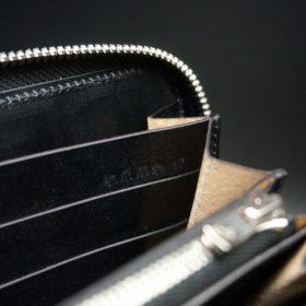 新喜皮革社製オイルコードバンのブラック色のラウンドファスナー長財布(シルバー色)-1-13