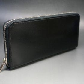 新喜皮革社製オイルコードバンのブラック色のラウンドファスナー長財布(シルバー色)-1-2