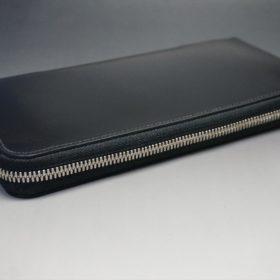 新喜皮革社製オイルコードバンのブラック色のラウンドファスナー長財布(シルバー色)-1-5