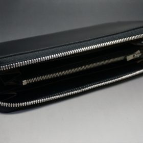 新喜皮革社製オイルコードバンのブラック色のラウンドファスナー長財布(シルバー色)-1-6