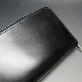 新喜皮革社製オイルコードバンのブラック色のラウンドファスナー長財布(シルバー色)-1-7