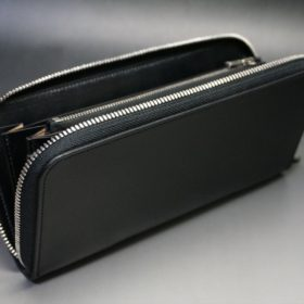 新喜皮革社製オイルコードバンのブラック色のラウンドファスナー長財布(シルバー色)-1-8