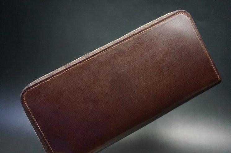 新喜皮革社製オイルコードバンのバーガンディ色のラウンドファスナー長財布(ゴールド色)-1-1