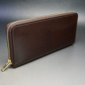 新喜皮革社製オイルコードバンのバーガンディ色のラウンドファスナー長財布(ゴールド色)-1-2