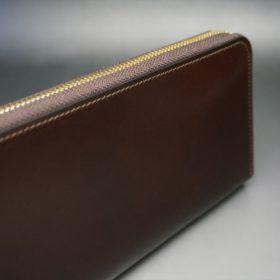 新喜皮革社製オイルコードバンのバーガンディ色のラウンドファスナー長財布(ゴールド色)-1-3