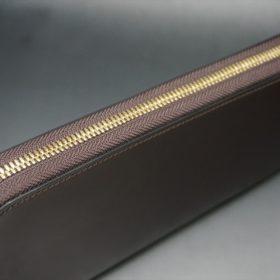 新喜皮革社製オイルコードバンのバーガンディ色のラウンドファスナー長財布(ゴールド色)-1-4
