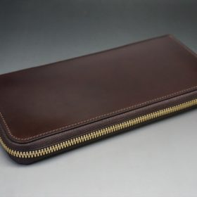 新喜皮革社製オイルコードバンのバーガンディ色のラウンドファスナー長財布(ゴールド色)-1-5