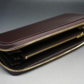 新喜皮革社製オイルコードバンのバーガンディ色のラウンドファスナー長財布(ゴールド色)-1-6