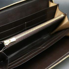 新喜皮革社製オイルコードバンのバーガンディ色のラウンドファスナー長財布(ゴールド色)-1-7