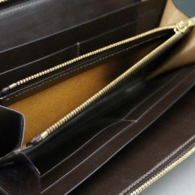 新喜皮革社製オイルコードバンのバーガンディ色のラウンドファスナー長財布(ゴールド色)-1-8