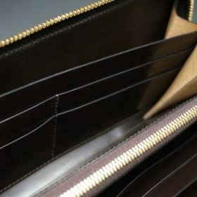 新喜皮革社製オイルコードバンのバーガンディ色のラウンドファスナー長財布(ゴールド色)-1-9