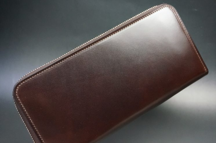 新喜皮革社製オイルコードバンのバーガンディ色のラウンドファスナー長財布(シルバー色)-1-1