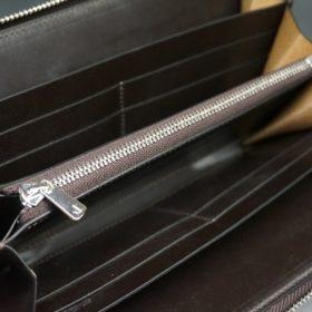 新喜皮革社製オイルコードバンのバーガンディ色のラウンドファスナー長財布(シルバー色)-1-10