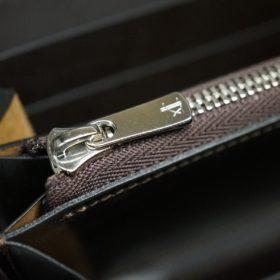 新喜皮革社製オイルコードバンのバーガンディ色のラウンドファスナー長財布(シルバー色)-1-11