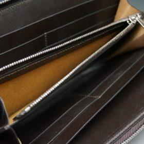 新喜皮革社製オイルコードバンのバーガンディ色のラウンドファスナー長財布(シルバー色)-1-12