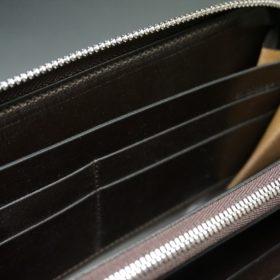 新喜皮革社製オイルコードバンのバーガンディ色のラウンドファスナー長財布(シルバー色)-1-13