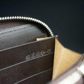 新喜皮革社製オイルコードバンのバーガンディ色のラウンドファスナー長財布(シルバー色)-1-14