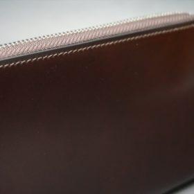 新喜皮革社製オイルコードバンのバーガンディ色のラウンドファスナー長財布(シルバー色)-1-4