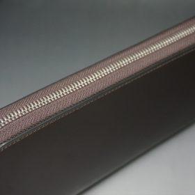 新喜皮革社製オイルコードバンのバーガンディ色のラウンドファスナー長財布(シルバー色)-1-5