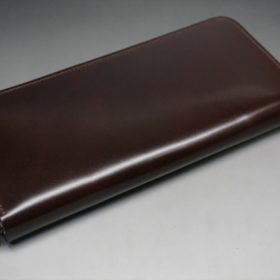 新喜皮革社製オイルコードバンのバーガンディ色のラウンドファスナー長財布(シルバー色)-1-6