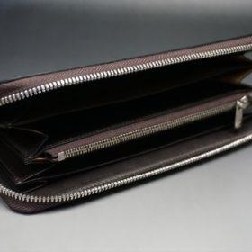 新喜皮革社製オイルコードバンのバーガンディ色のラウンドファスナー長財布(シルバー色)-1-8