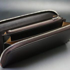 新喜皮革社製オイルコードバンのバーガンディ色のラウンドファスナー長財布(シルバー色)-1-9