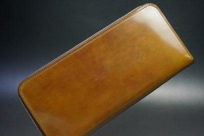 新喜皮革社製オイルコードバンのコニャック色のラウンドファスナー長財布(ゴールド色)-1-1