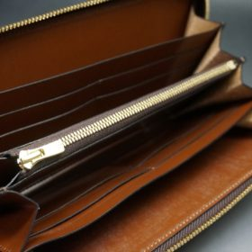 新喜皮革社製オイルコードバンのコニャック色のラウンドファスナー長財布(ゴールド色)-1-10