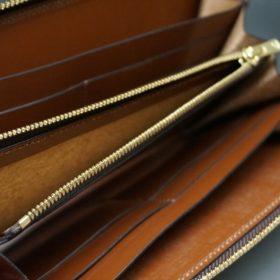 新喜皮革社製オイルコードバンのコニャック色のラウンドファスナー長財布(ゴールド色)-1-11