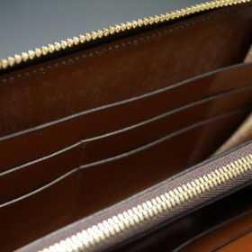 新喜皮革社製オイルコードバンのコニャック色のラウンドファスナー長財布(ゴールド色)-1-12