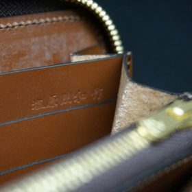 新喜皮革社製オイルコードバンのコニャック色のラウンドファスナー長財布(ゴールド色)-1-13